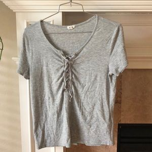 Garage grey lace up tee
